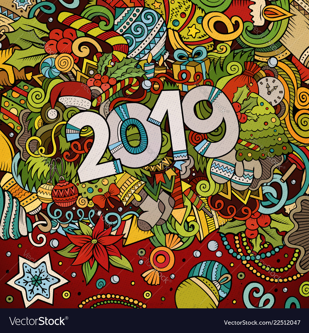 2019 hand drawn doodles colorful new