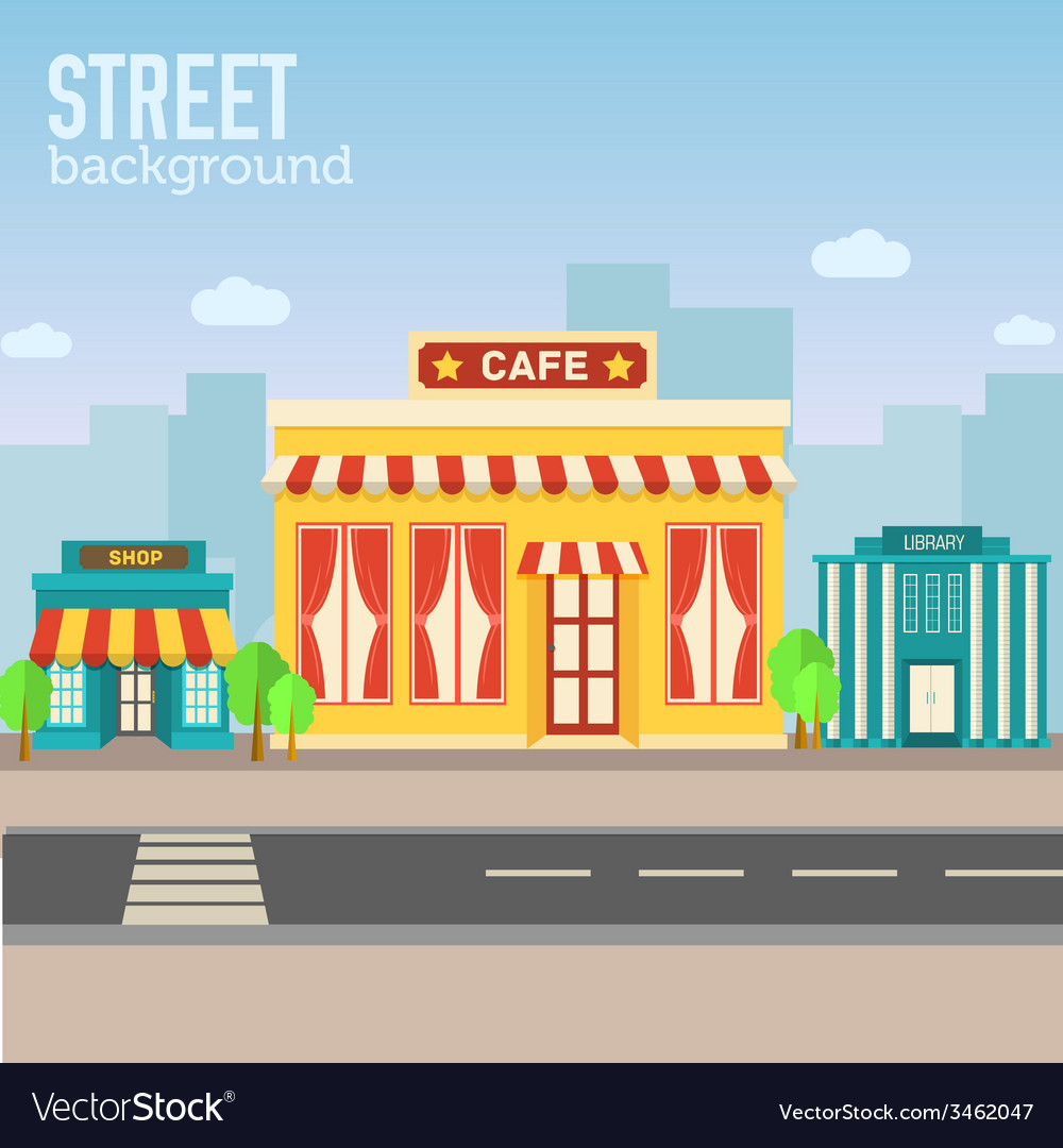 Cafe building in city space with road on flat syle