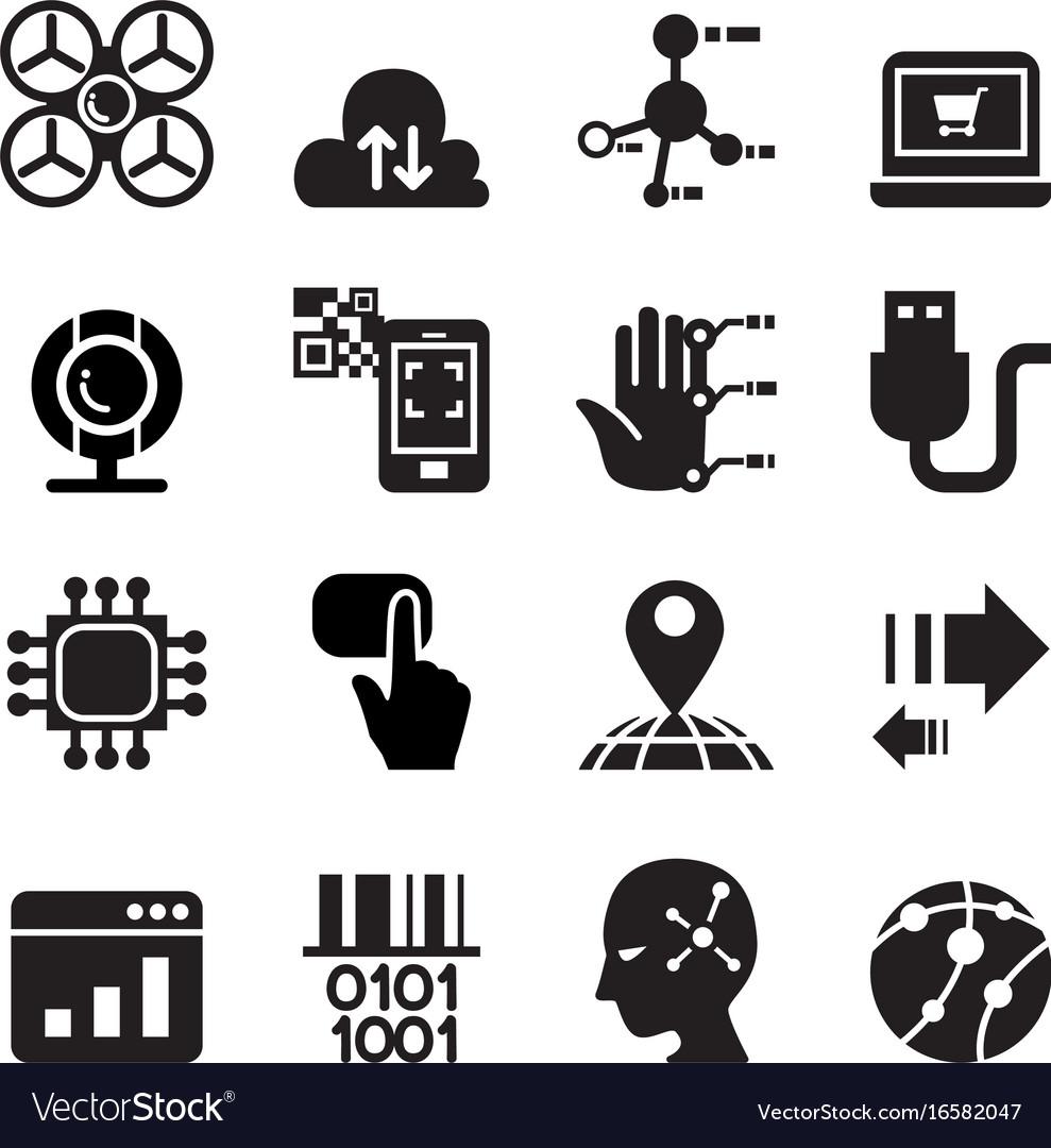 Computer electronic technology icon set