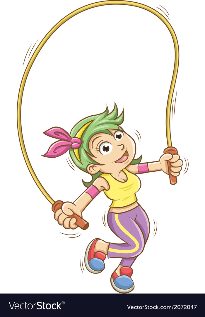 Girl playing with a skipping rope