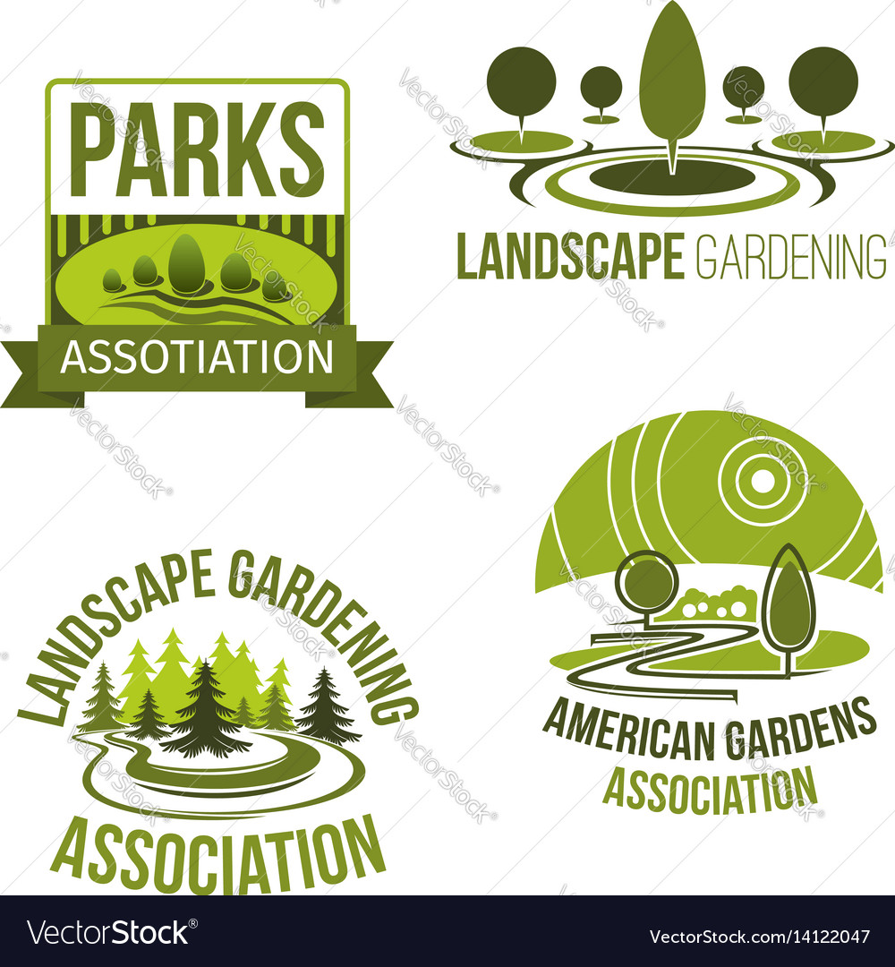Superieur Icons For Landscape Gardening Company Vector Image
