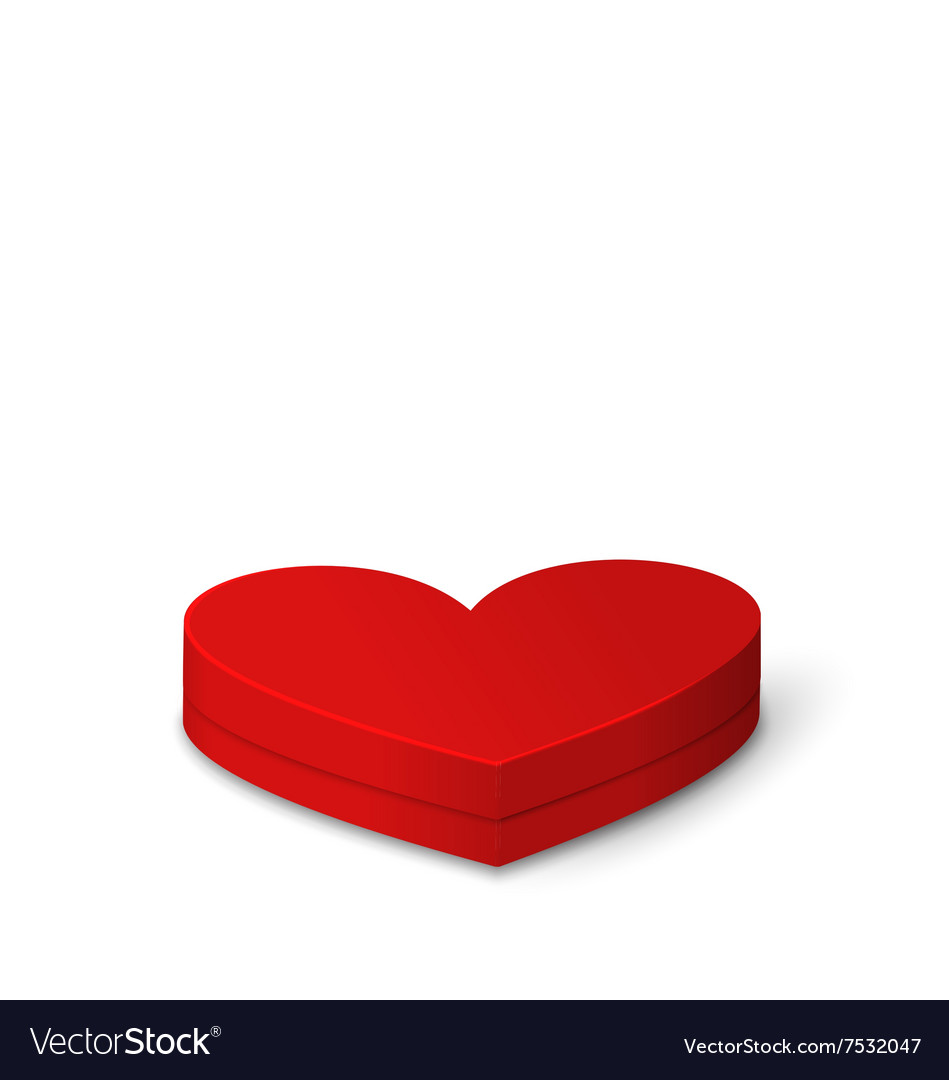Red Gift Box in Heart Shaped for Valentines Day