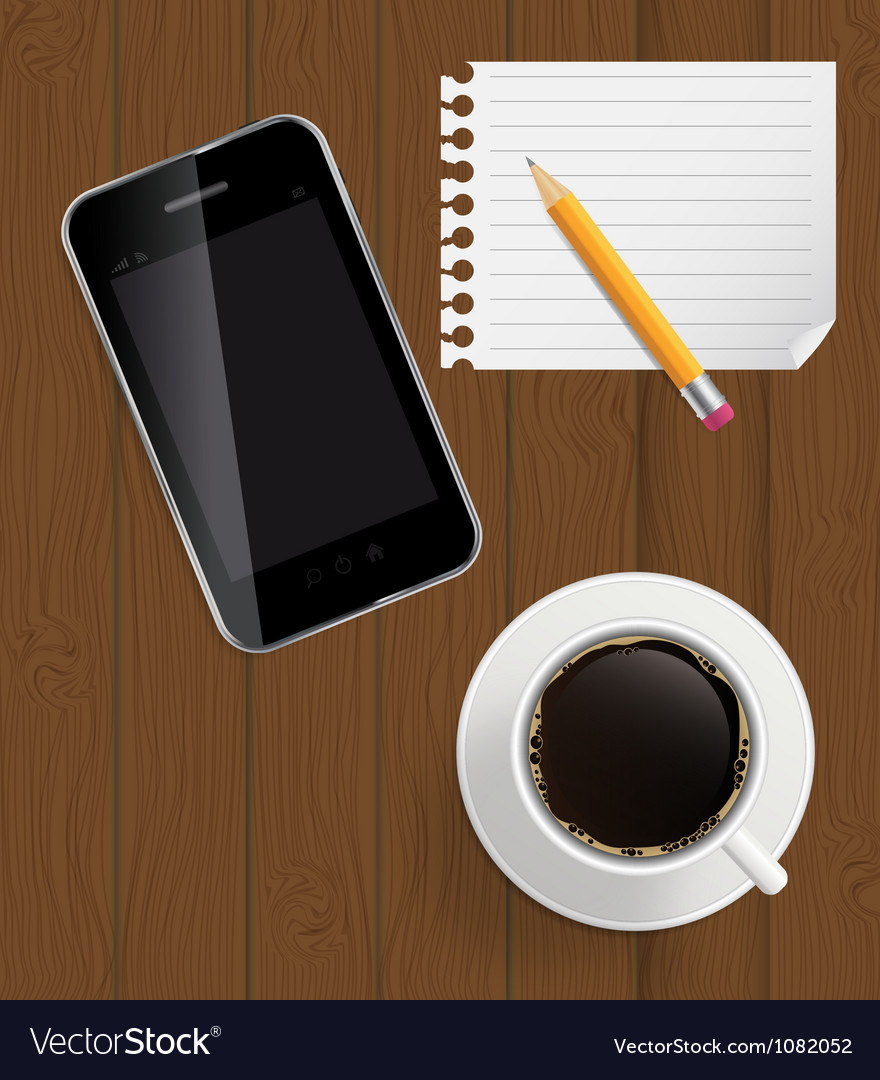 Abstract design phone coffee pencil blank page on