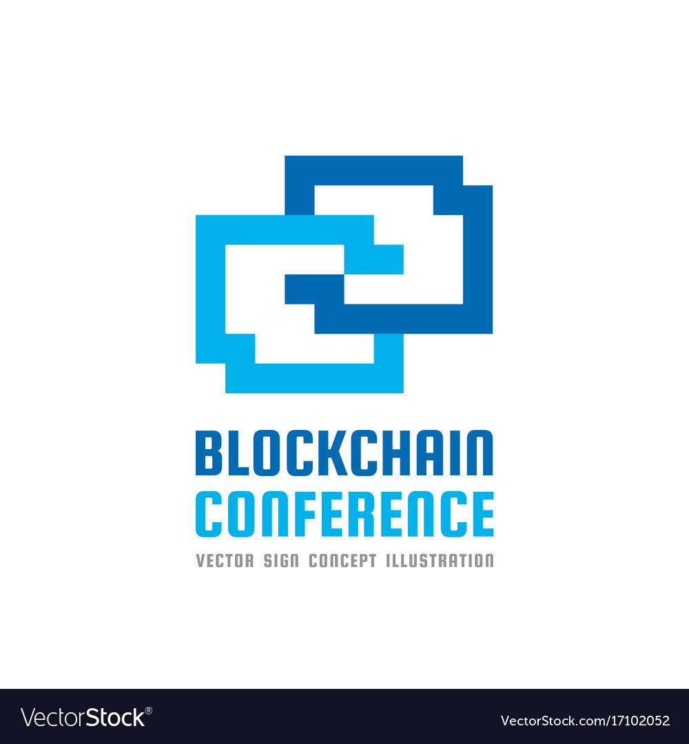 Blockchain technology conference - logo vector image