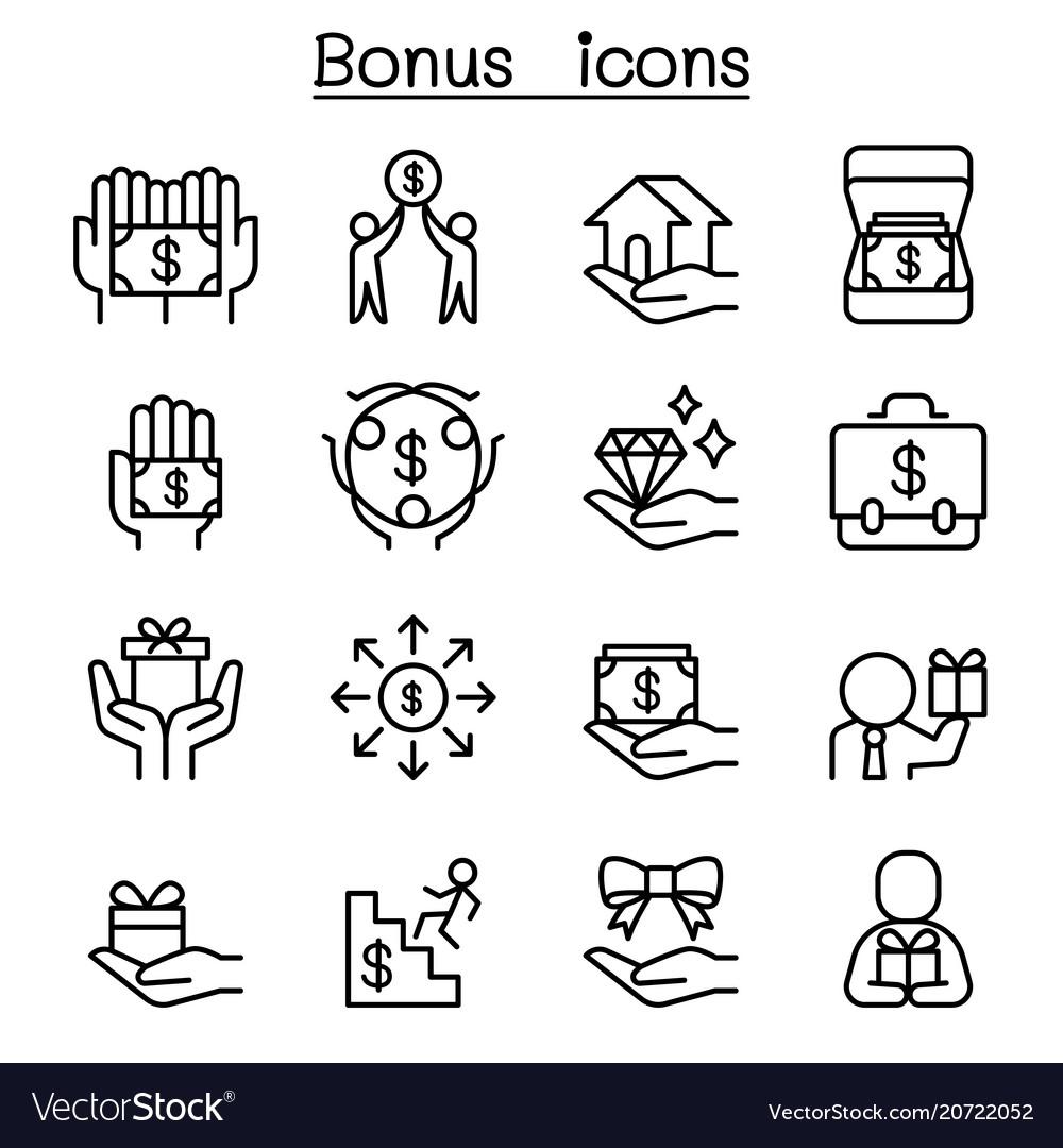 Bonus icon set in thin line style