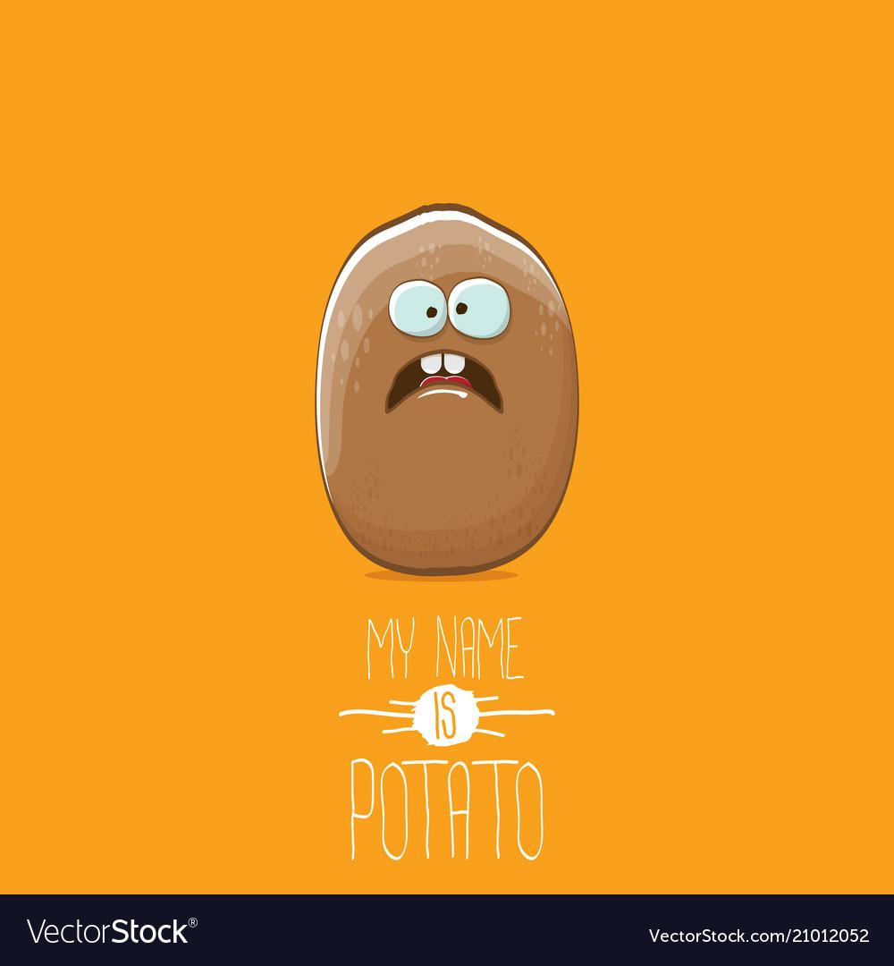 Brown potato cartoon character isolated on