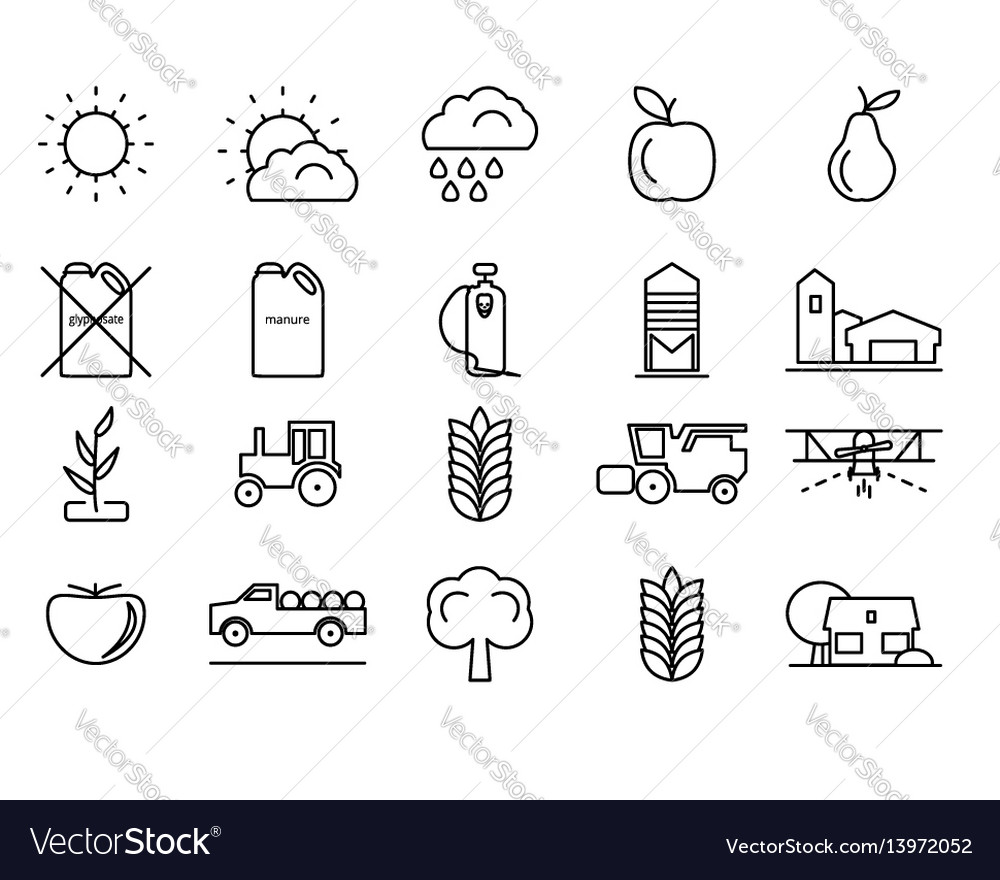 Farm line icons set for your design