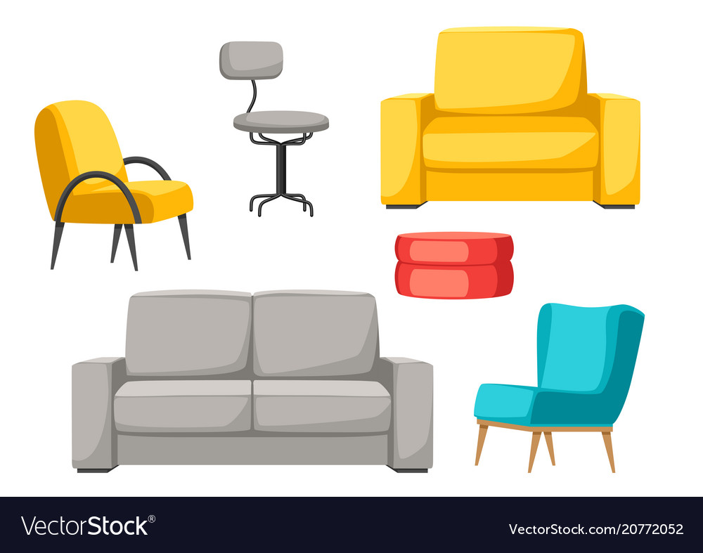 Furniture Set Sofa Armchair And Pouf