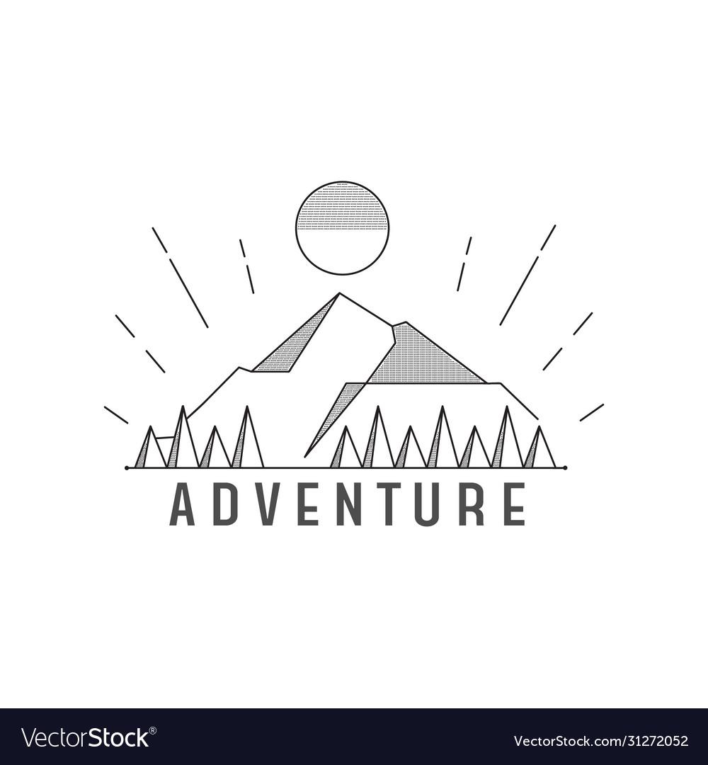 Line art dot mountain adventure landscape logo