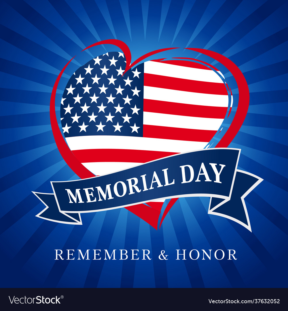 Memorial day usa heart emblem blue beams