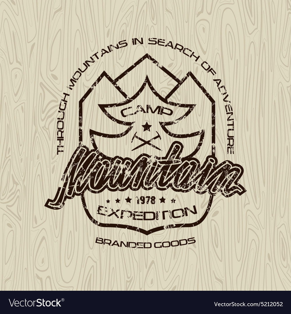 Mountain camp emblem for t shirt