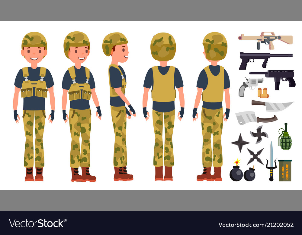 Soldier man set poses army person