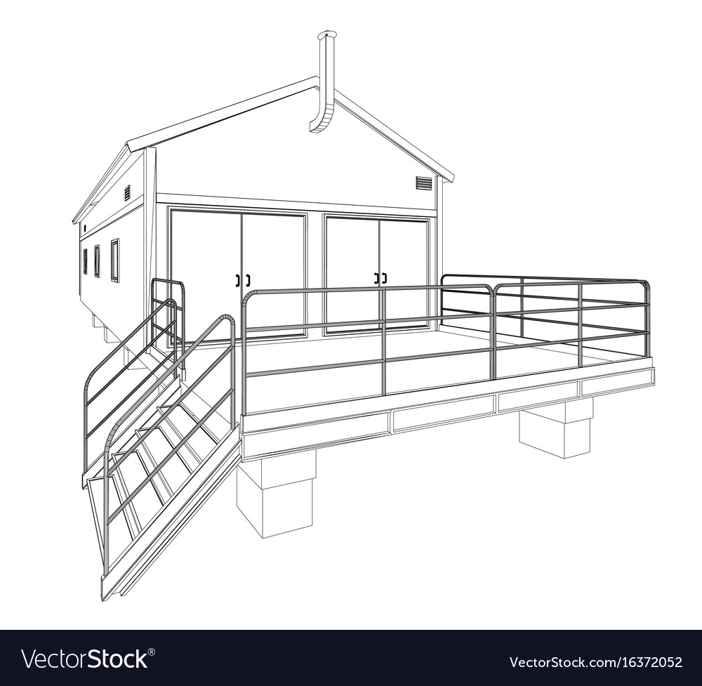 Wire-frame industrial building Royalty Free Vector Image