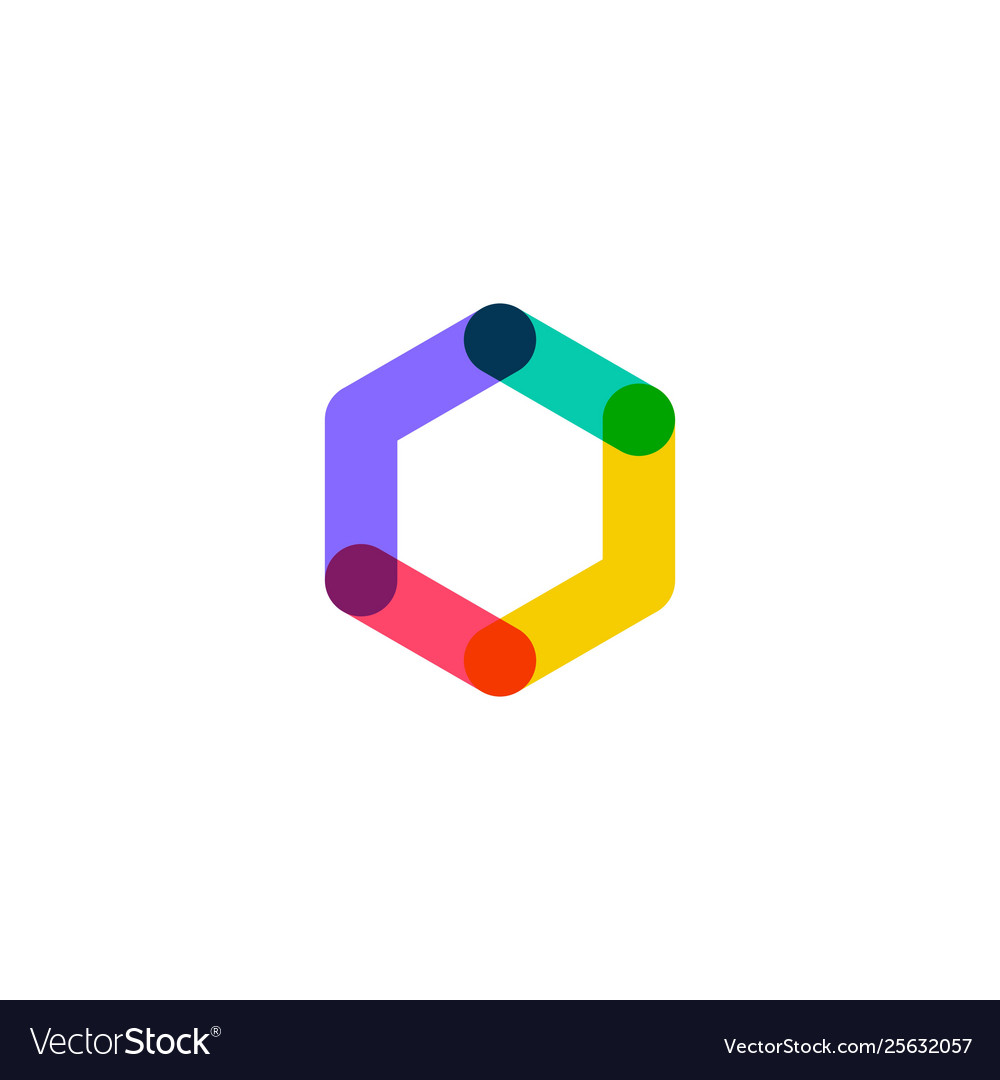 Abstract hexagon overlapping logo icon