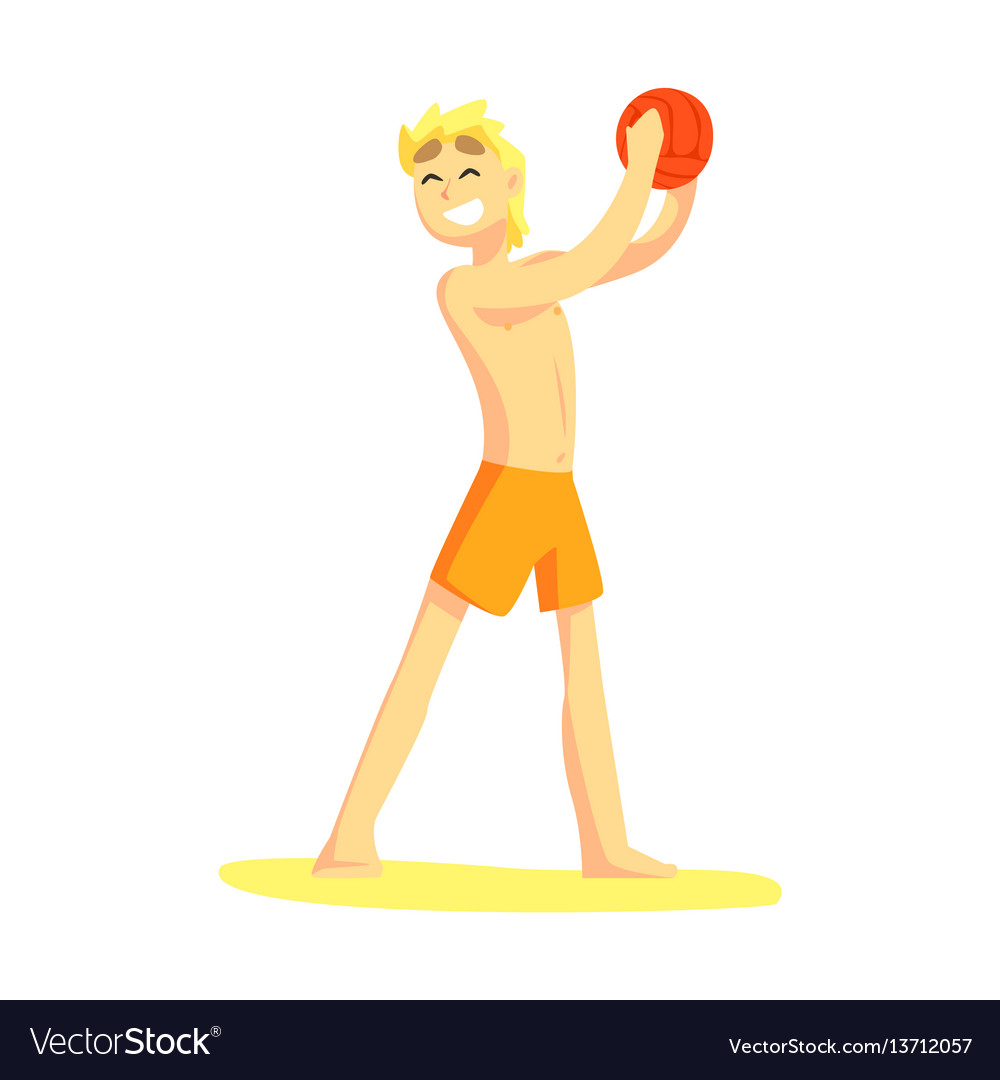 Blond guy in shorts holding ball part of friends vector image