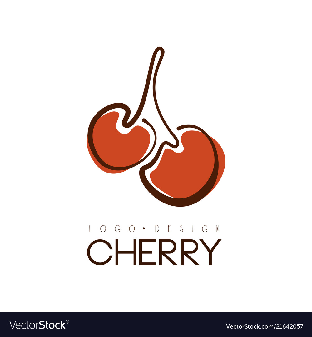 Cherry logo design creative template with two