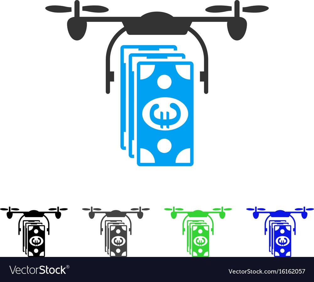 Euro banknotes drone flat icon vector image