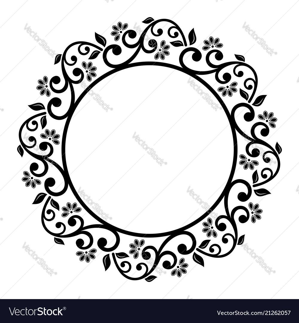 Floral Modern Round Frame Royalty Free Vector Image