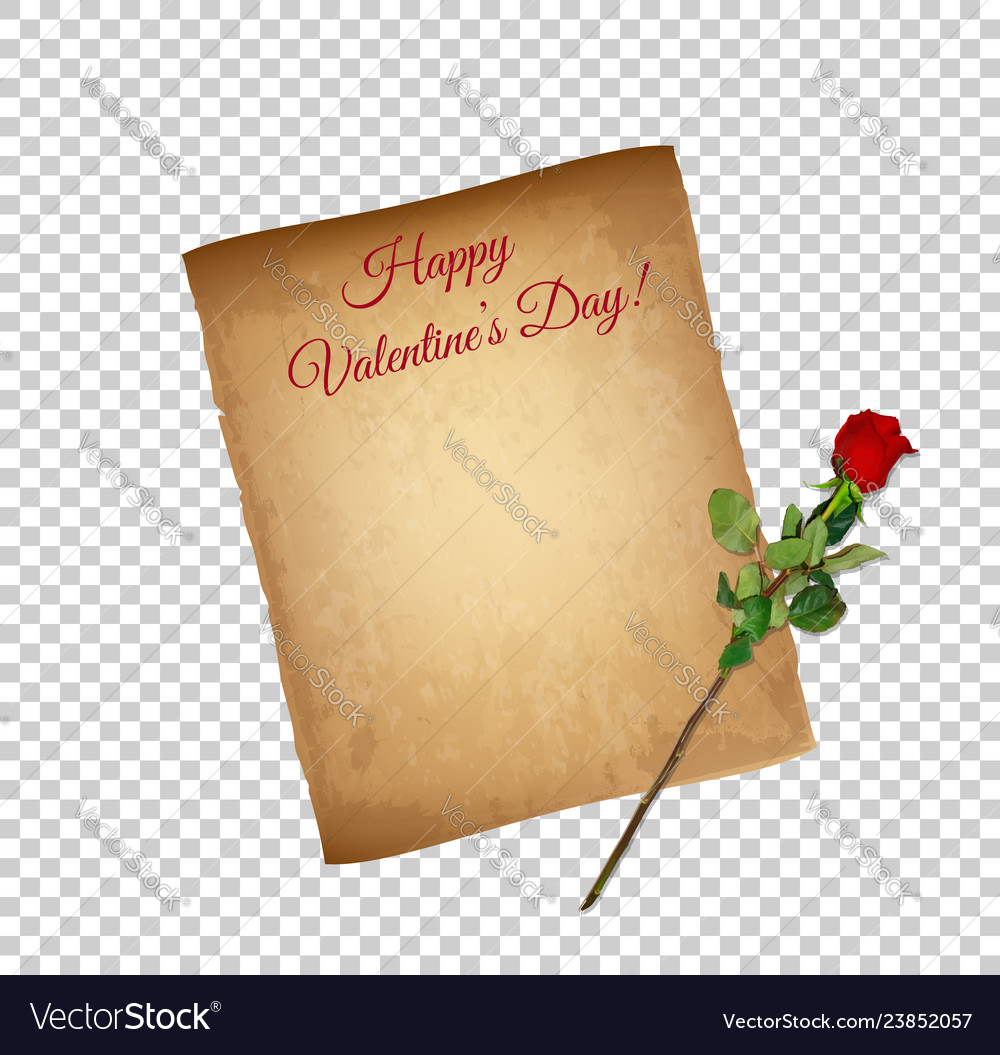 Happy valentine day greeting card banner parchment