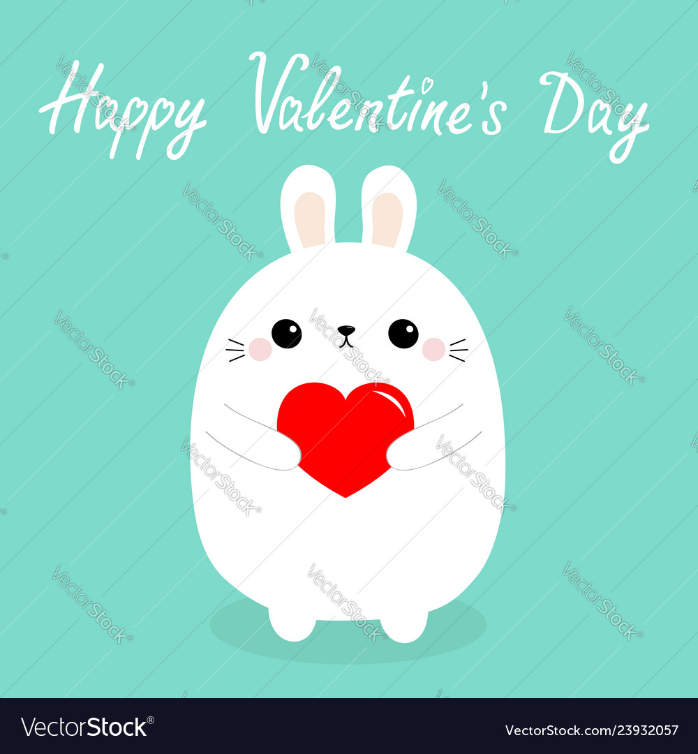 Happy valentines day white baby rabbit hare puppy