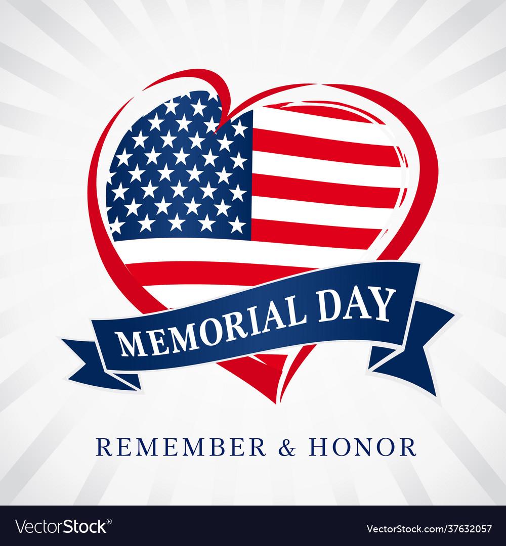 Memorial day usa heart emblem flag colored