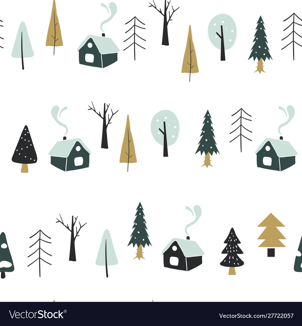 Seamless pattern with houses and forest