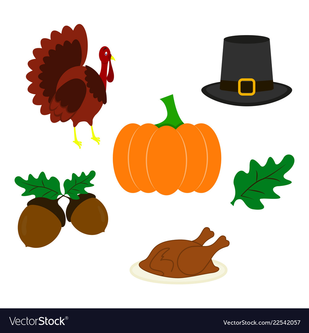 Set Of Thanksgiving Day Icons Of Color