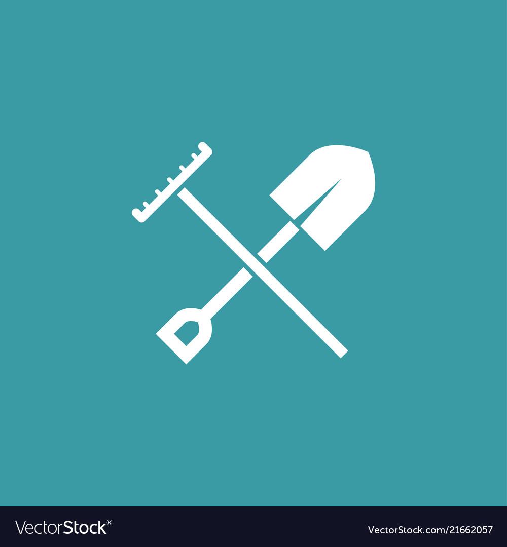 Shovel with rake icon simple gardening element