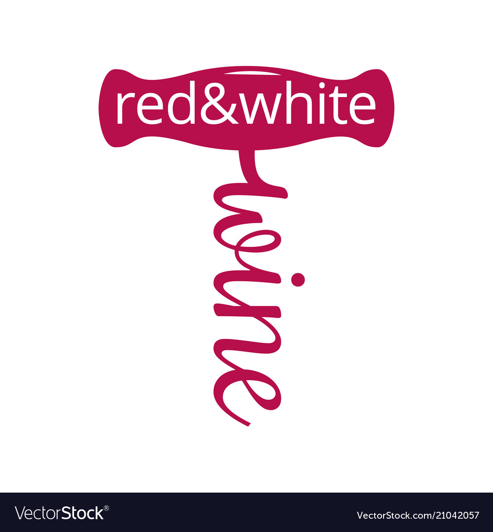 Wine corkscrew logo red and white wine concept on