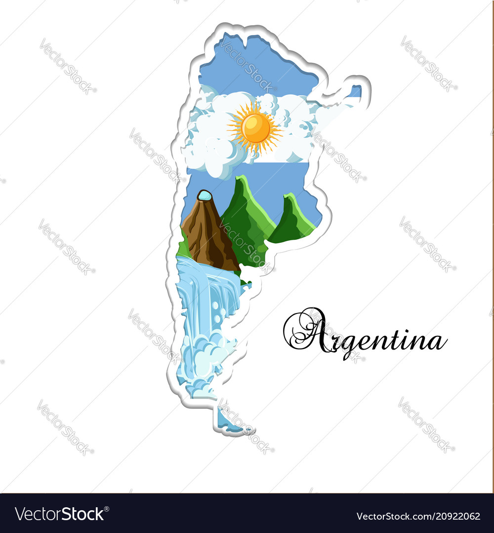 Argentina map paper cutting silhouette with its