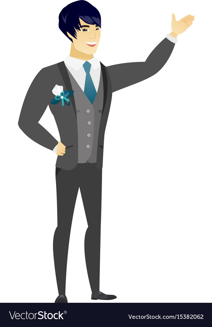 Asian groom showing a direction vector image