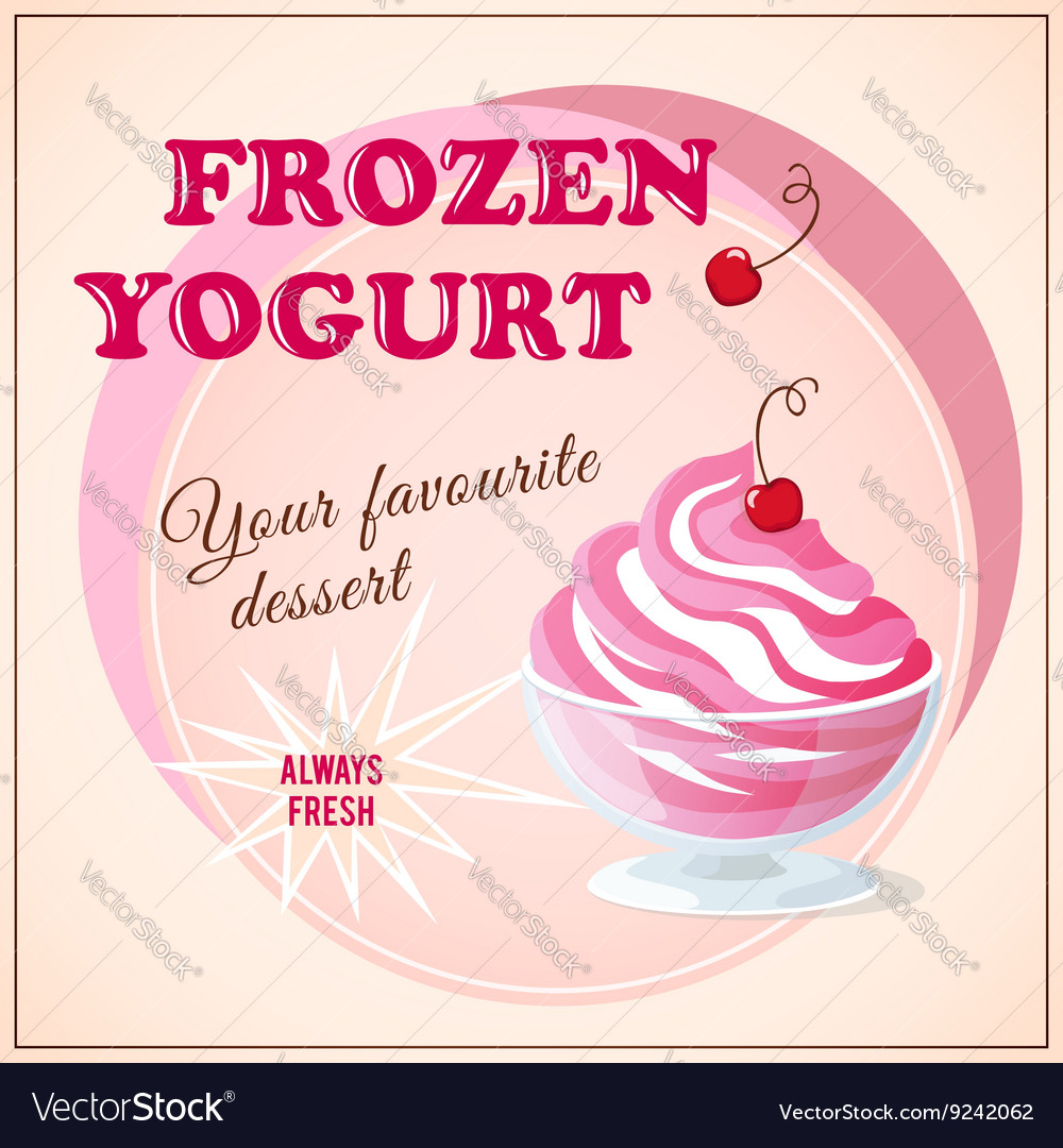 Banner with cherry frozen yogurt