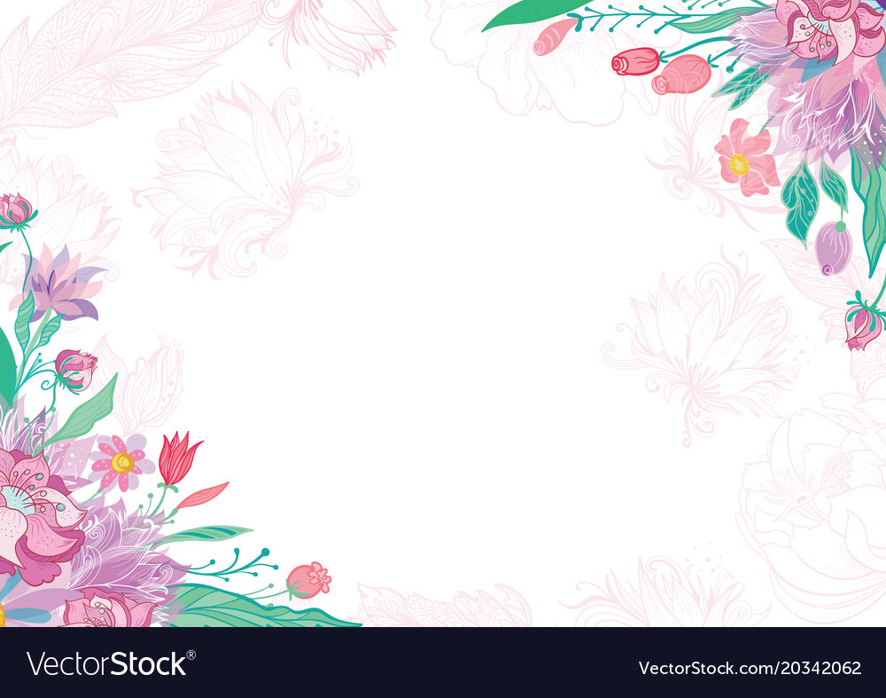 Card with spring floral corners