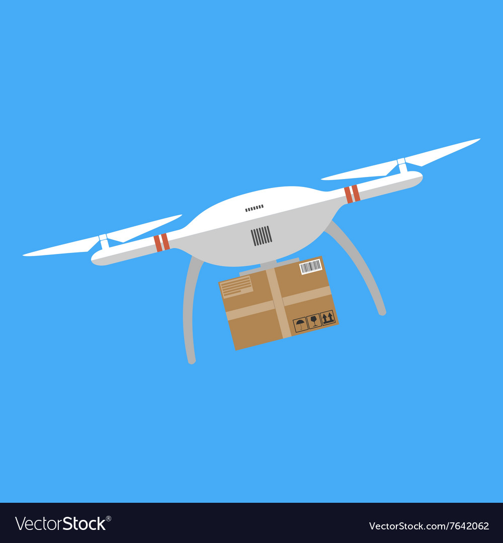 Concept for delivery service Delivery drone with vector image on VectorStock