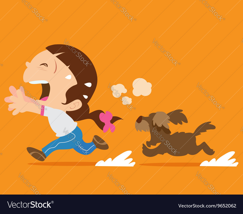 Cute girl running away from angry dog