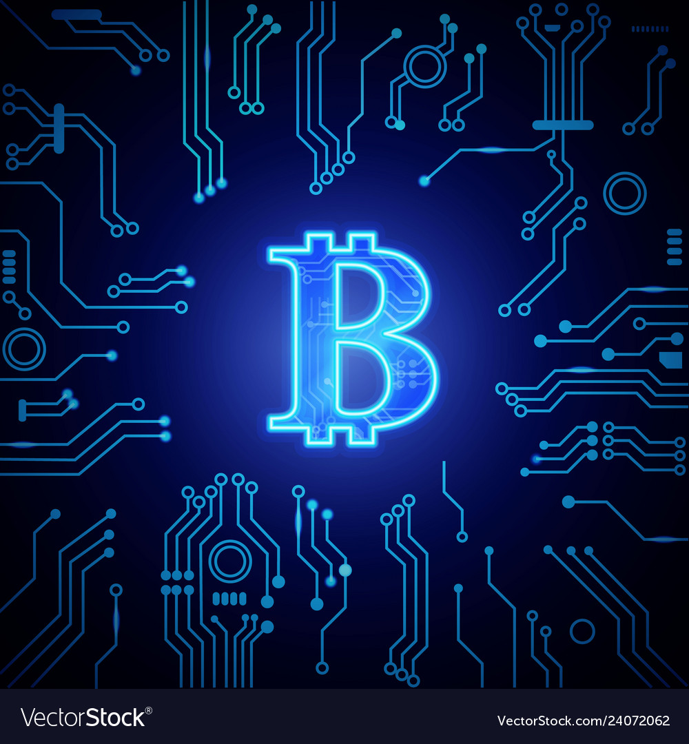 Digital money luminescent symbol bitcoin