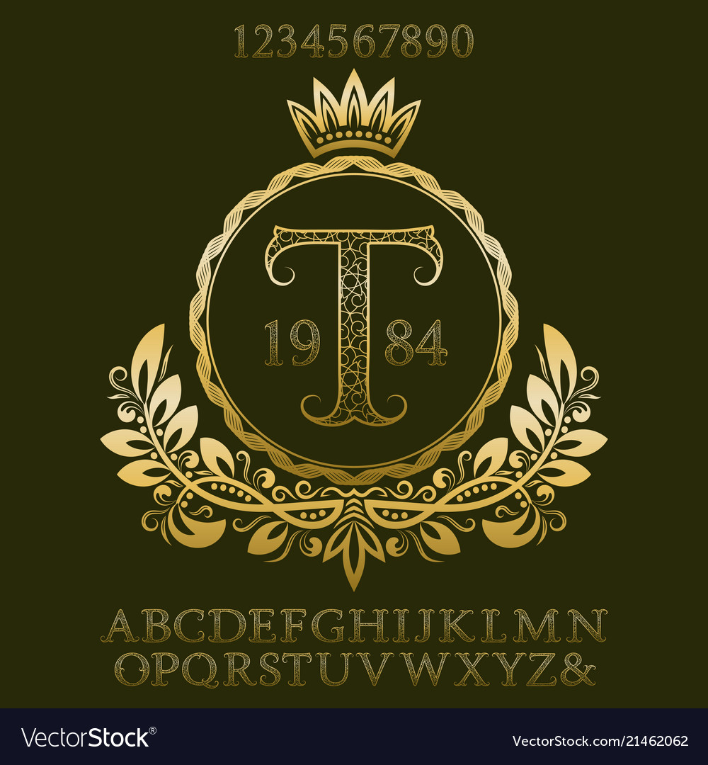 Golden patterned letters and numbers with monogram
