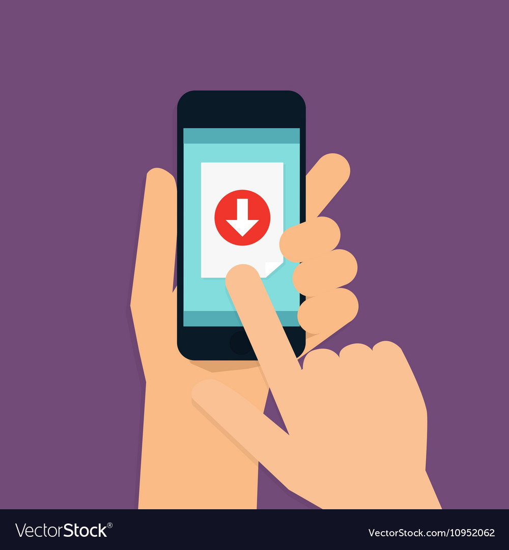 Hand holding mobile smart phone with download app