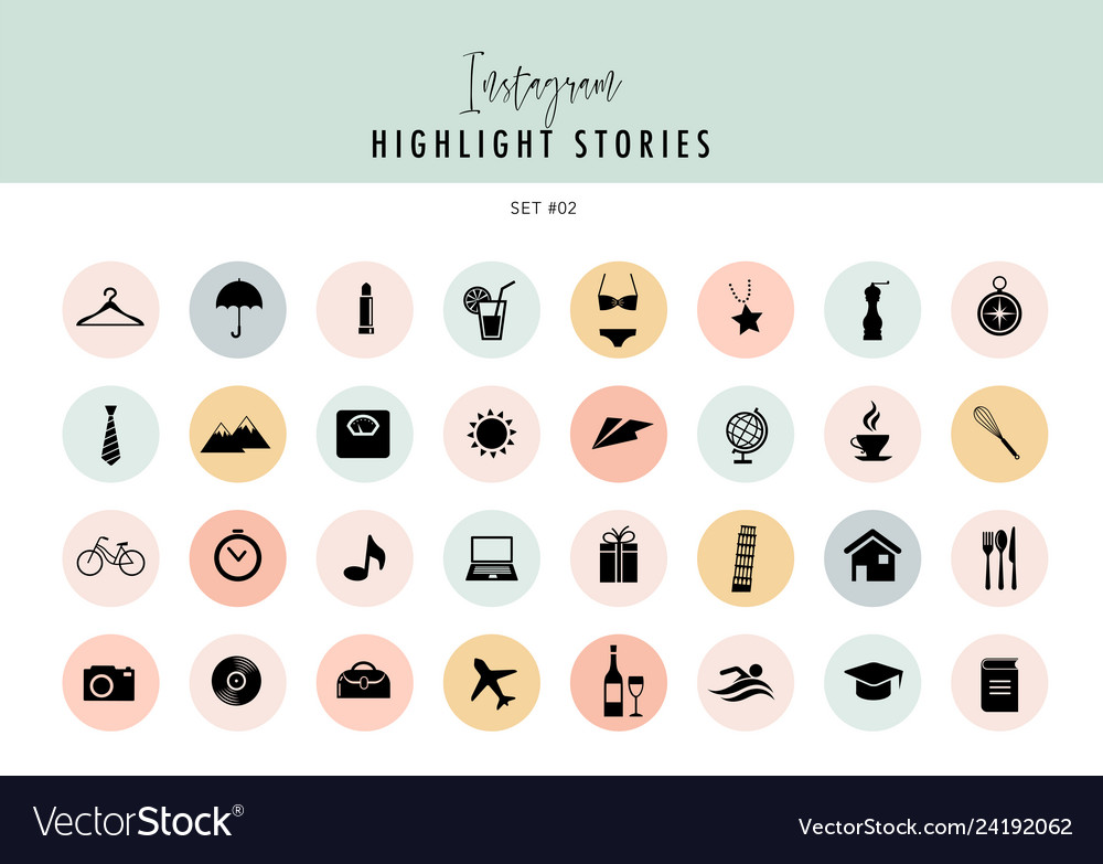 Christmas Icon For Instagram Highlights.Instagram Highlights Stories Covers Icons Vector Image