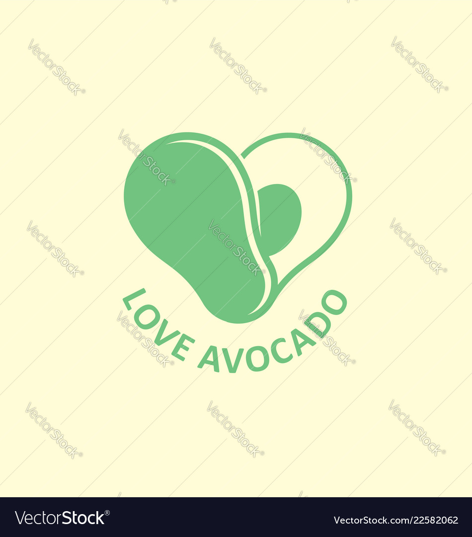 Love avocado creative logo design