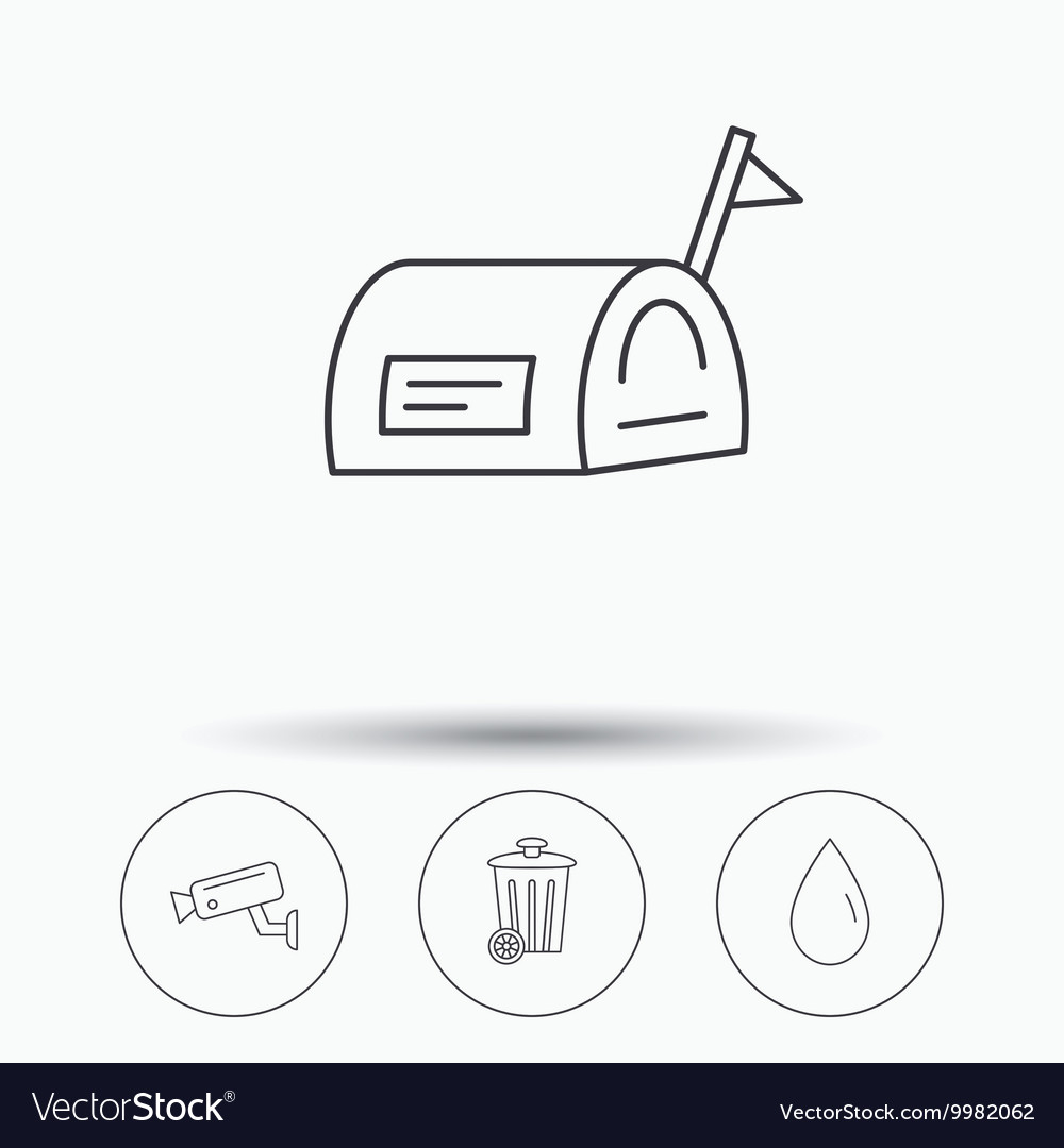 Mailbox video monitoring and water drop icons