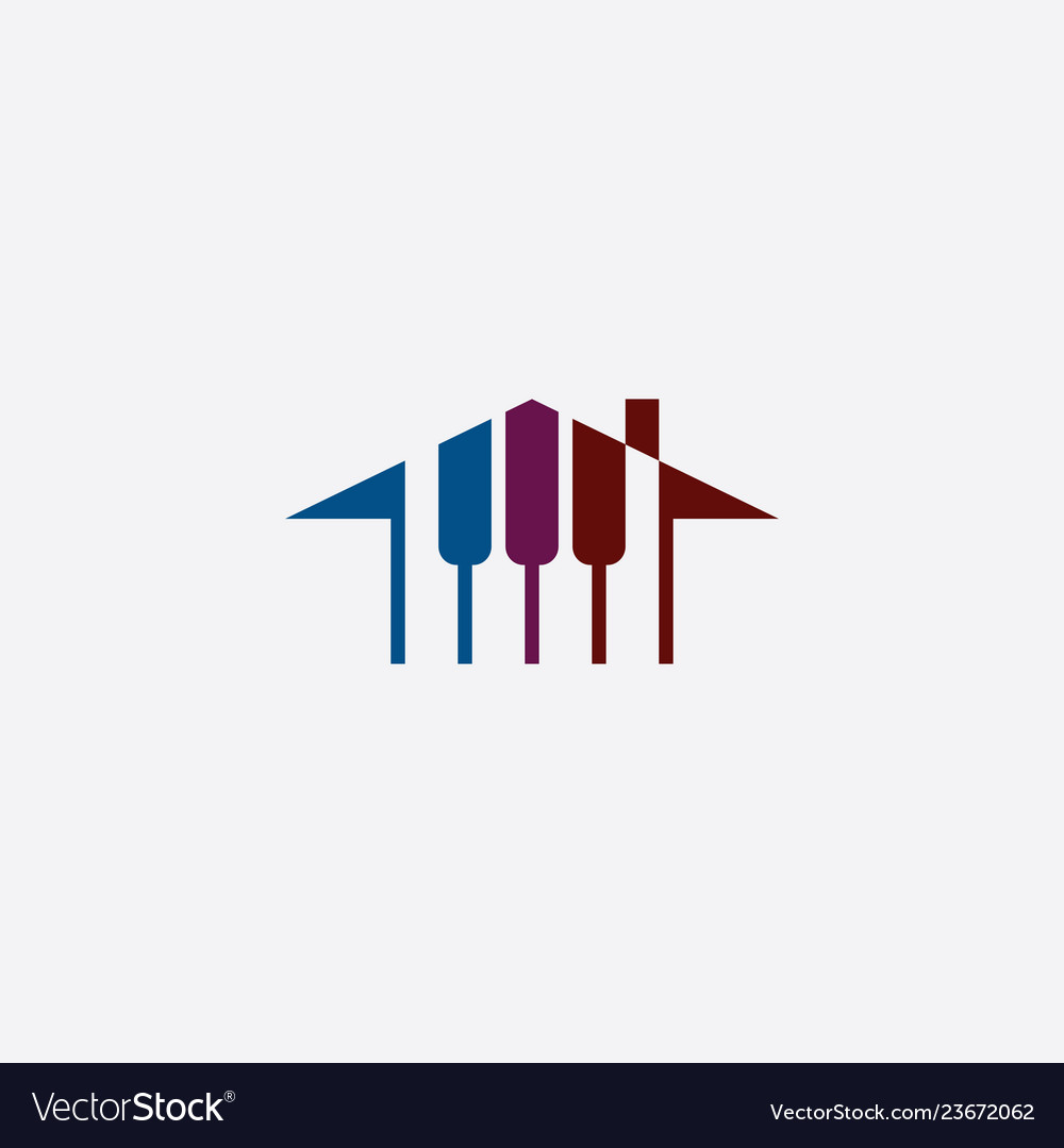 Piano house logo music school icon