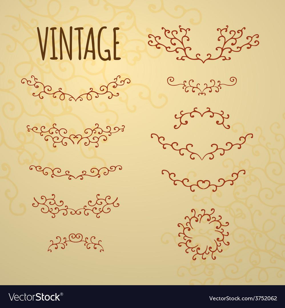 Set of vintage ornaments for design of cards invit