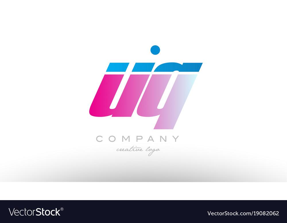 Uq u q alphabet letter combination pink blue bold