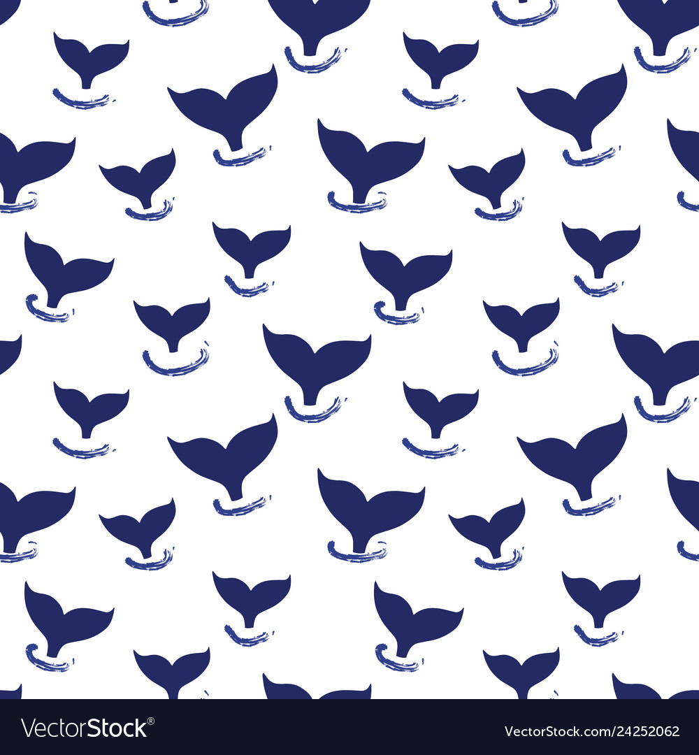 Whale tail seamless pattern simple marine