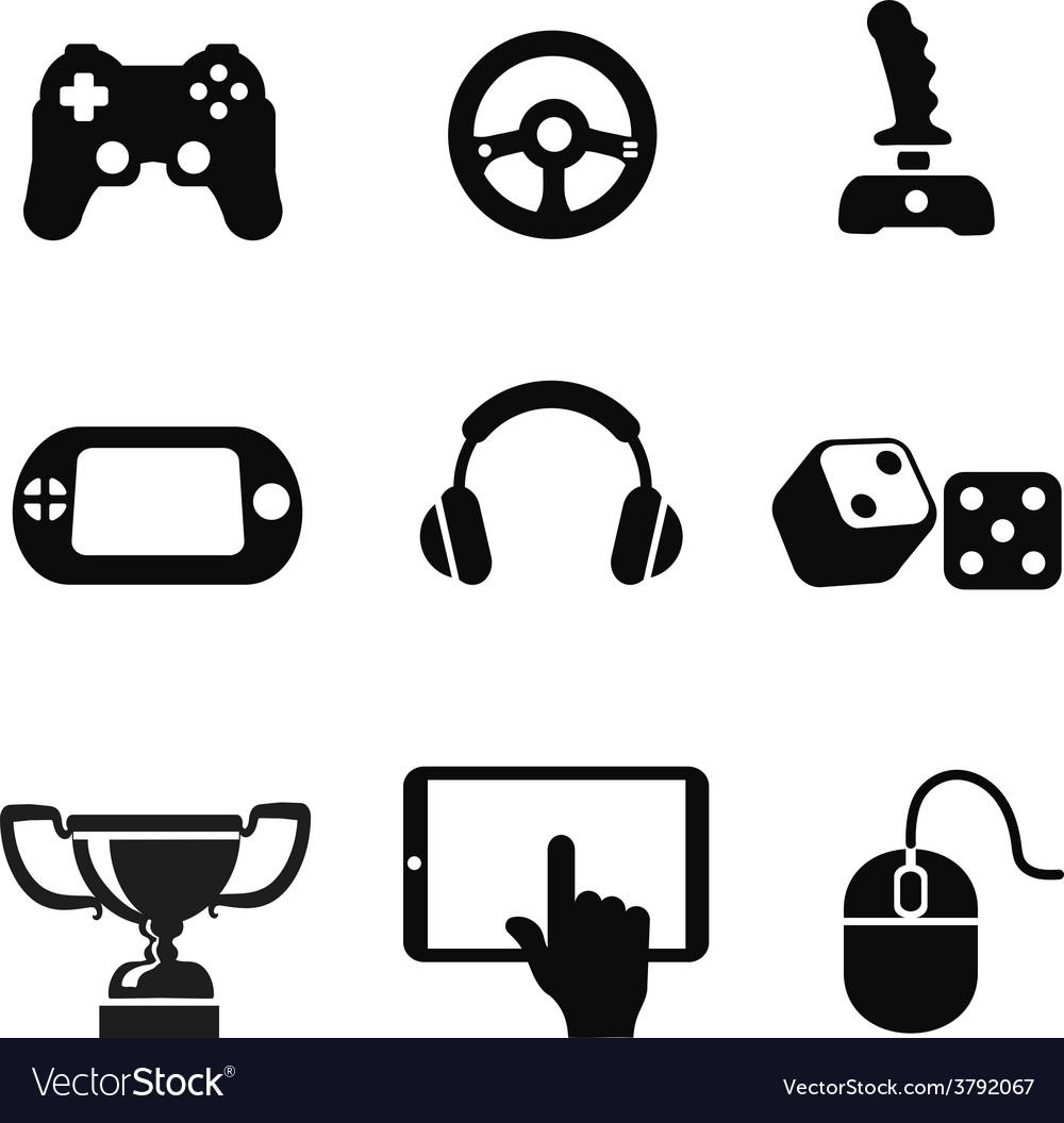 Black game icons set white background