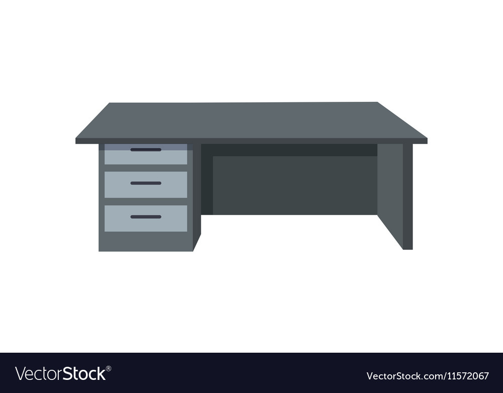 Black Office Desk Isolated On White Background Vector Image