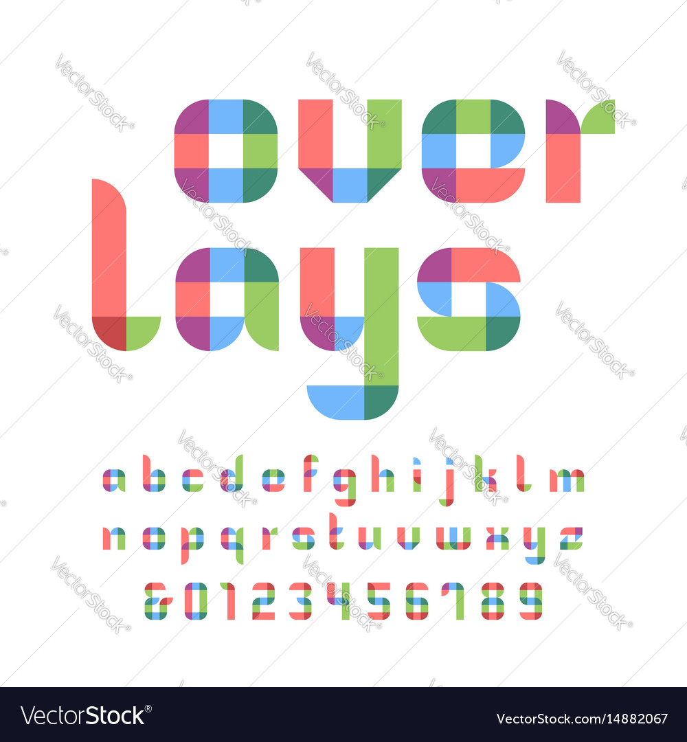 Color font alphabet with overlay effect letters