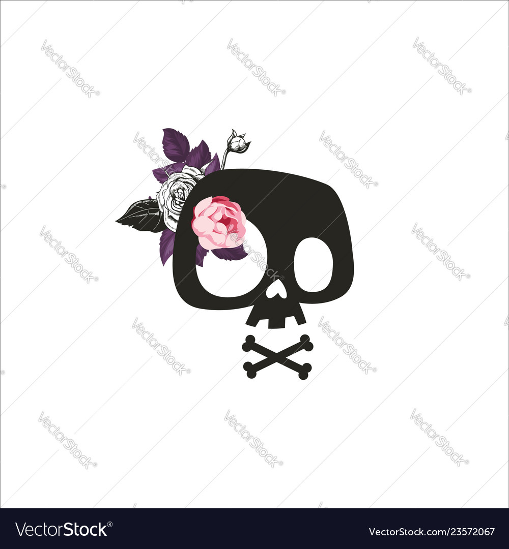 Cute cartoon skull decorated with rose flowers