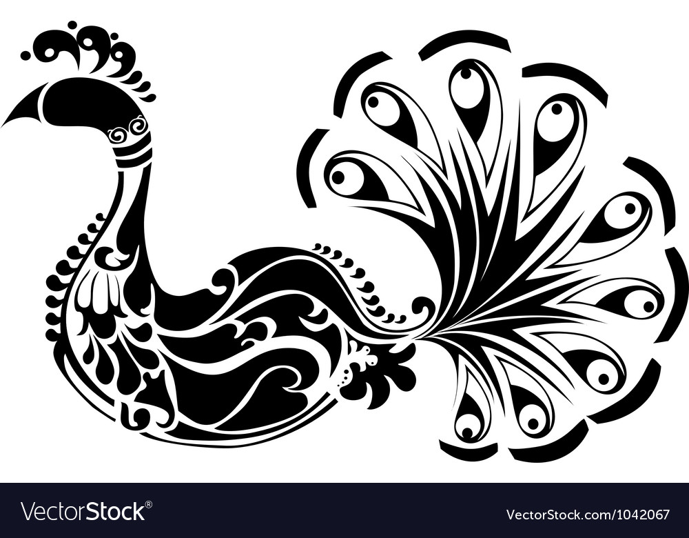 Decorative Peacock black and white